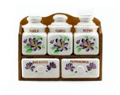 Vintage Kitchen Spice Rack: Floral Print - Wood Wall Rack - Farmhouse Decor, Flowers, Summer, Purple, Amethyst, Plum, Lavender, Green, Brown