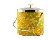 Retro Ice Bucket: 1960's Era - Yellow, Orange, Green Flowers, Floral Print, Daisy Pattern, Mid Century Modern - Summer, Camping, Party