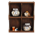 Wooden Display Shelf: Divided Shadow Box - Wood, Wall Shelf - Rustic, Farmhouse Decor, Shabby Chic