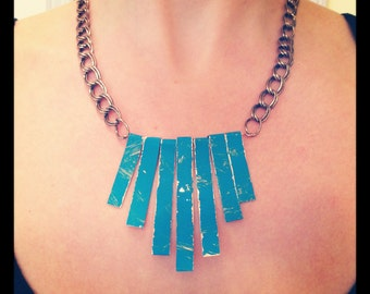 Turquoise Metal Statement Necklace