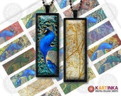 PEACOCKS - 1x3 inch Digital Collage Sheet printable images for pendants magnets micro-slides
