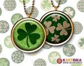 ST PATRICK'S DAY Shamrocks 1 inch & 1.5 inch size Circle Images for resin pendants, bottle caps, round bezel cabs, Jewelry, Crafts