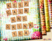 KEEP CALM Drink TEA 3.8x3.8 inch & 4x4 inch Digital Collage Sheet Printable Download for Coasters Magnets Greeting Cards