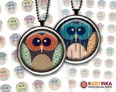 OWLS - 1 inch, 1.25 inch & 1.5 inch round Printables Digital Download Images for Resin Pendants Bottle Caps Round bezel cabs Glass Cabochon