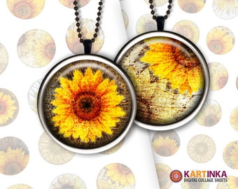 1 inch (25mm) & 7/8 inch printable digital SUNFLOWERS round images for round pendants bezel trays glass cabochon mountings cameo settings