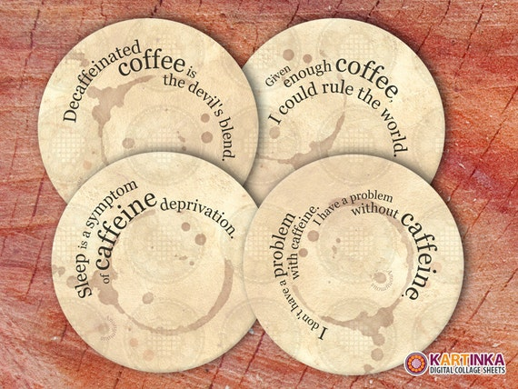 COFFEE PRINTS - 4 inch and 3.8 inch Circles Digital Collage Sheet Printable for Coasters Magnets Greeting Cards