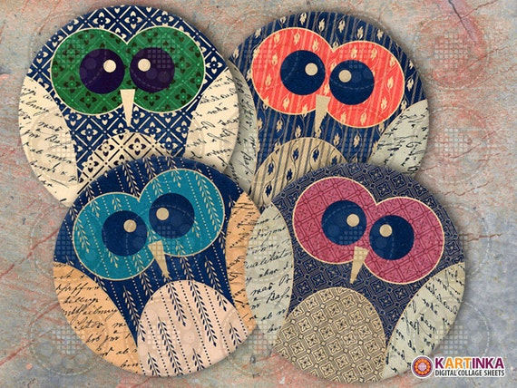 4 inch and 3.8 inch Print it yourself OWLS Printable Images Digital Collage Sheet for Circles Coasters Magnets Greeting Cards
