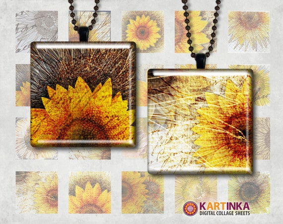 SUNFLOWERS - 1x1 inch and 7/8x7/8 inch Squares Digital Collage Sheet Printable Download for Pendants Magnets