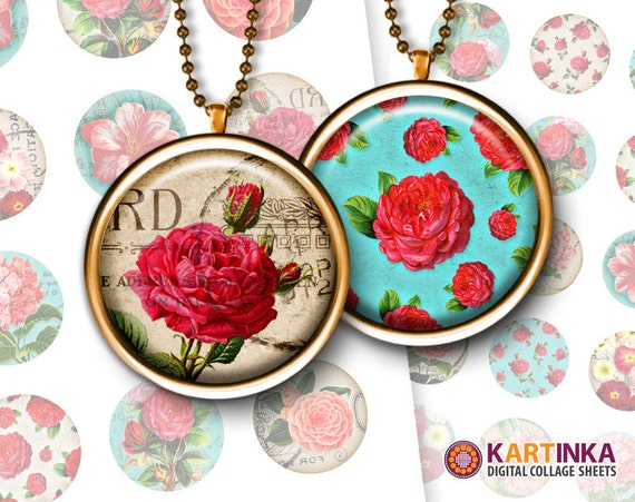1 inch, 1.5 inch Images VINTAGE FLOWERS for Resin pendants Bottle caps Round bezel cabs Jewelry Crafts Mountings cameo settings Cabochons