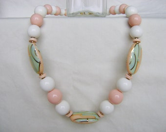 Vintage Beaded Necklace - 1980s Enamel Pastels Gold Tone