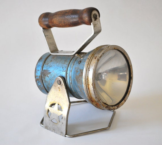 Vintage Blue Flashlight Lantern from the Star Headlight & Lantern Co.