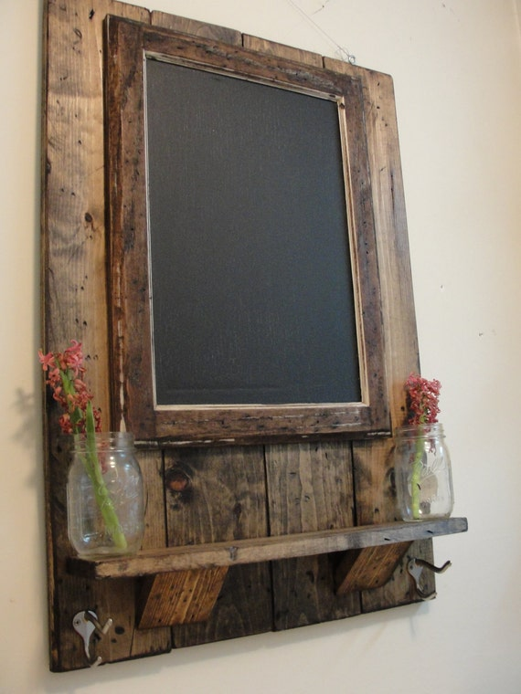 Magnetic Chalkboard with Shelf and Coat/Key/Hat Hooks