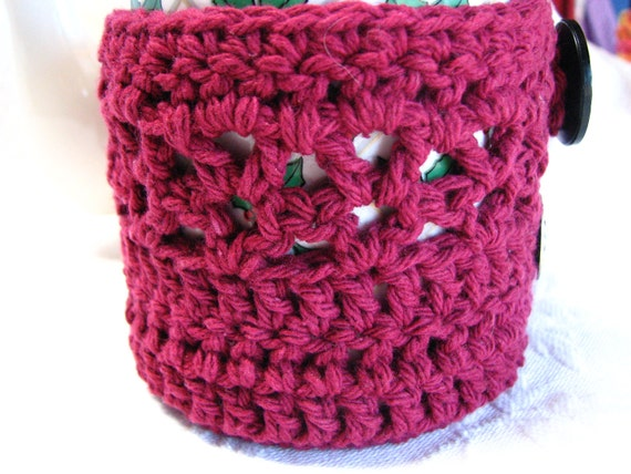 100% cotton Maroon Mug Hug cozy with coaster bottom and decorative buttons