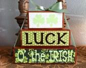 St. Patrick's Day Wood Blocks/Wood Stacker - Luck O' the IRISH