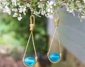 Gold Toned Summer Sky Drop Earrings