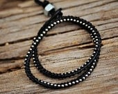 DOUBLE Silver beaded chain wrap bracelet: Leather/cord color - BLACK/ BLACK