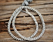 DOUBLE Silver beaded chain wrap bracelet: Leather/cord color- GREY / CREAM