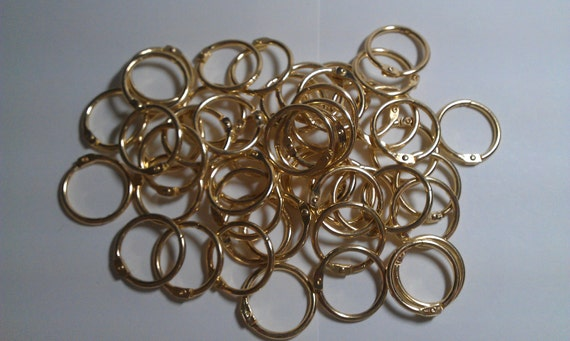 125 - 1 1/4 inch Book Binder Rings Brass Gold Colored
