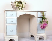 Hold for Roula - Distressed Cream and Sky Blue Vanity or Desk