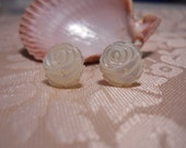 FREE SHIPPING Small mother of Pearl carved rose button gold post earrings.