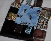 EMBROIDERED NAME on Brown Monkeys on Blue Minky Baby Tag Blanket - Ribbon Taggie Lovey