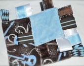 EMBROIDERED NAME on Blue Guitars Minky Music Baby Tag Blanket - Ribbon Taggie Lovey