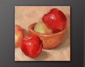"""Original oil painting of apples and a ceramic bowl, oil on panel, 6x6, """"Green on Me"""" by Trevor Howard"""