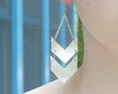 Double chevron metallic leather earrings