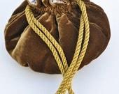 Old Gold velvet small drawstring purse