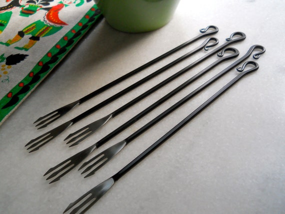 Circa 1970s Wrought Iron Fondue Fork Set of Six