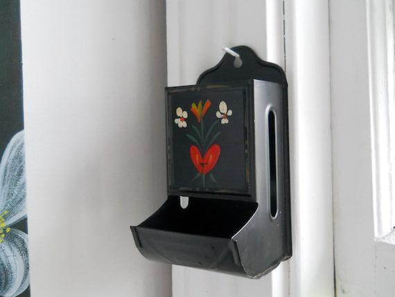 Vintage tin matchstick holder, handpainted tole kitchen wall match box safe