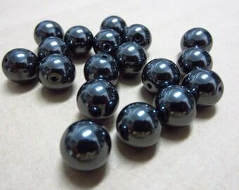 8mm Hematite Round Beads Half Drilled (2pcs)