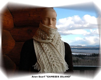 """Womens'/Ladies' scarf in intricate aran pattern with cables and bobbles, hand knit in pure fine Merino """"Gambier Island"""""""