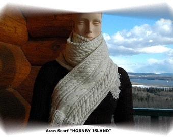 """Scarf for women/ladies hand knit in intricate aran pattern with cables, pure fine Merino, """"Hornby Island"""""""