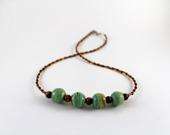Green, Blue, & Brown Glass Bead Necklace