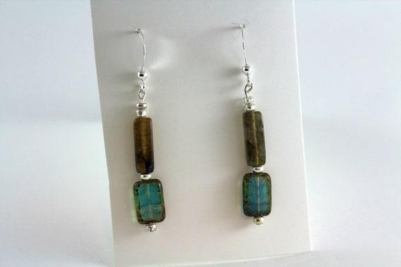 Dark Taupe & Pale Blue Glass Rectangular Dangle Earrings