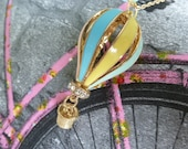 Pretty Hot Air Balloon pastel coloured charm necklace