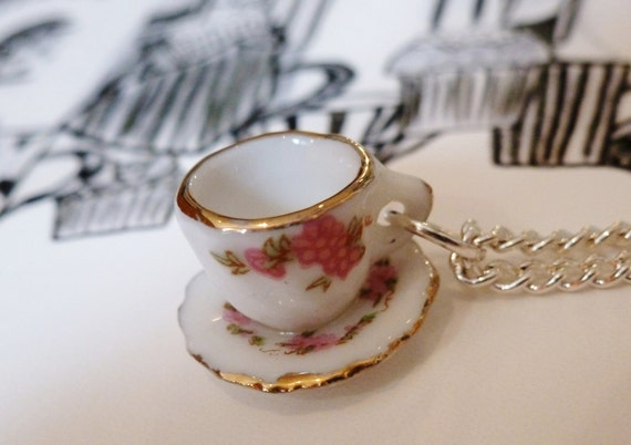 Pretty white ceramic tea cup necklace on silver plated chain