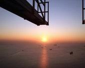 Sun over Vladivostok Harbour Photograph, Russia  14 x 11