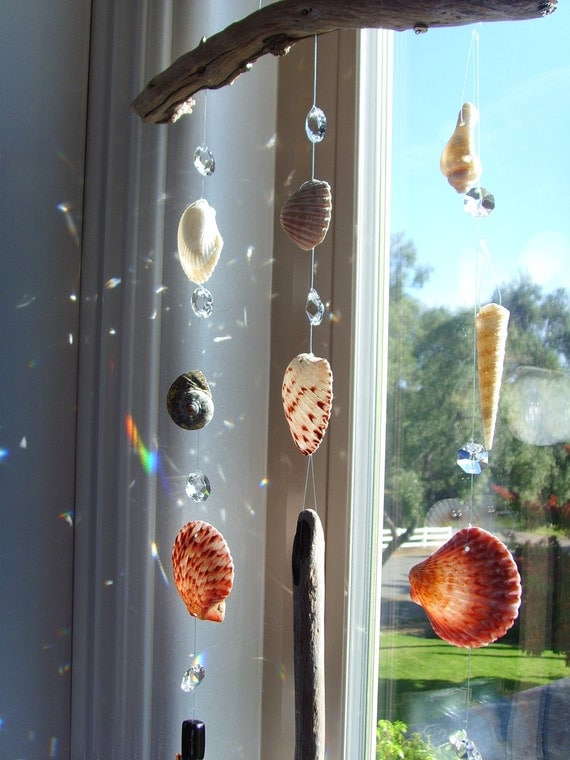 Sun Catcher with Antique Crystals, Shells and Drift Wood