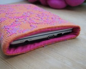 Netbook Sleeve. Knitted Lambswool, Abstract Design, Orange and Pink, 10.1""
