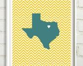 Custom State Favorite City Chevron art print 8x10 printable Pick your colors