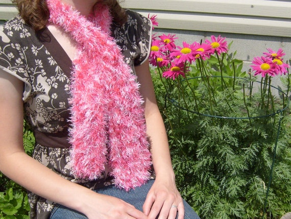 Pink fun fur scarf