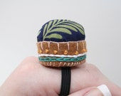 Tropical Embroidered Pin Cushion Ring