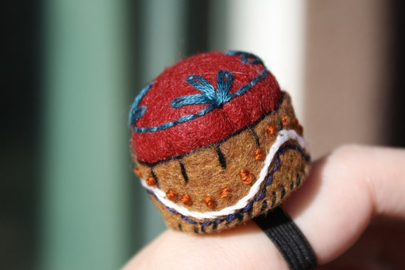 Red and Brown Embroidered Pin Cushion Ring