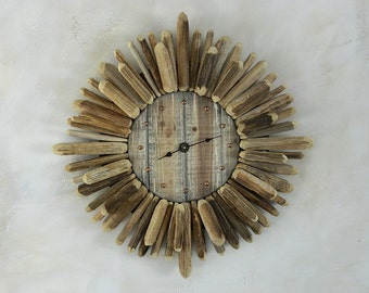 sunburst clock framed with saguaro cactus ribs
