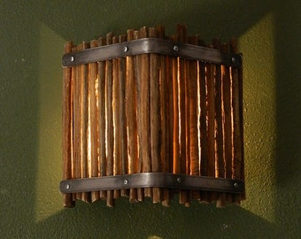 Saguaro Rib Sconce with Metal Straps