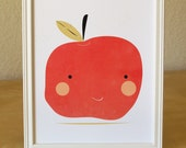 Apple art print illustration - 8x10 - green and red - kitchen nursery art