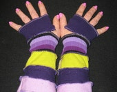 Apple Green Purple Upcycled Arm Warmers