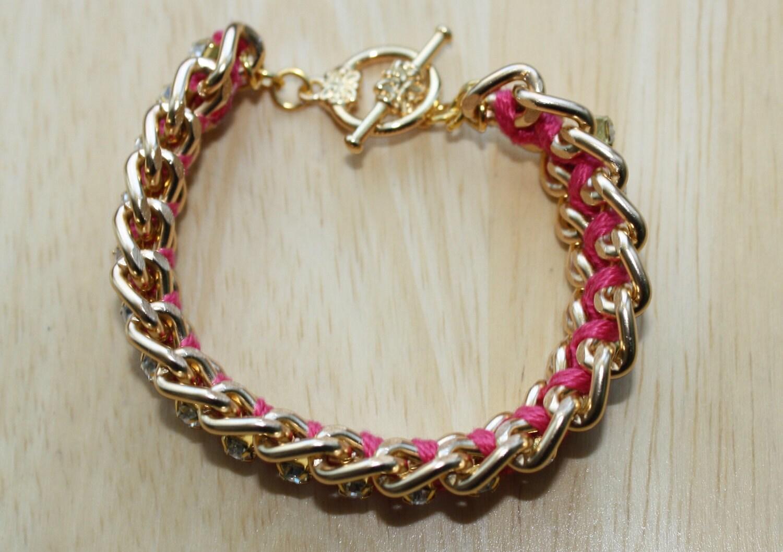 Watermelon Pink Woven Chain and Rhinestone Bracelet